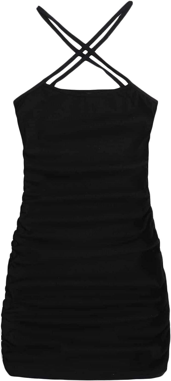 Verdusa Women's Ruched Criss Cross Halter Neck Sleeveless Club Bodycon Mini Dress