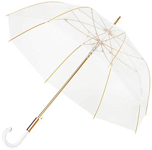 Baciami Cleo Regenschirm Damen - Automatik-Durchsichtiger Stockschirm - Transparent-Gold - ø 90 cm
