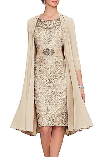 NanGer Damen Knielänge Spitze Mutter der Braut Kleid mit Jacke Abendkleider Elegant Ballkleider Champagner 46