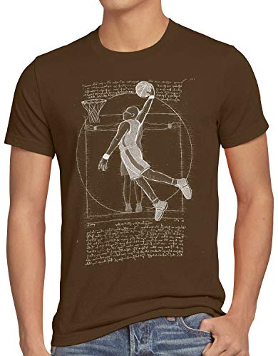 style3 Jugador de Baloncesto de Vitruvio Camiseta para Hombre T-Shirt da Vinci Hombre Basketball, Talla:L, Color:Marrón
