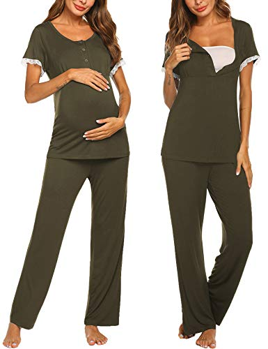 Ekouaer Maternity Sleepwear Nursing/Labor/Delivery Maternity Pajamas Set for Hospital Soft Pajama Shirt Pj Pants