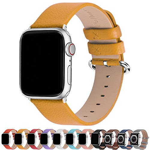 Fullmosa Compatible Apple Watch Band 38mm 40mm 41mm 42mm 44mm 45mm Calf Leather Compatible iWatch Band/Strap Compatible Apple Watch SE & Series 7 Series 6 Series 5 Series 4 Series 3 Series 2 Series 1,38mm 40mm 41mm Yellow