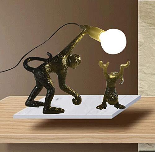 ISDY Light Featured Art Decoration Monkey Decoration Table Lamp Dormitory Soft Decoration Furnishing Bedroom Bar Shop LED Eye Care (Color : Black)