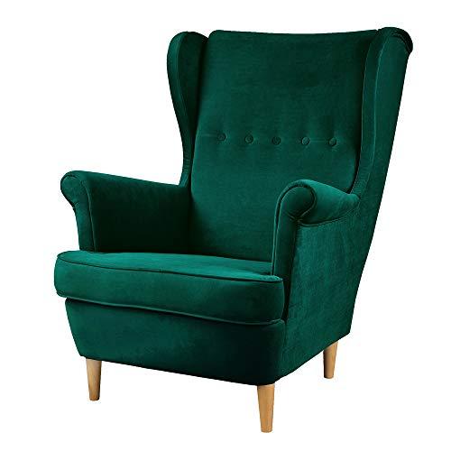 Selsey Mallmon - Ohrensessel mit Samtbezug und Holzbeinen, Sitzfläche 51 x 59 cm (Grün, Holzfüße Buche Natur)