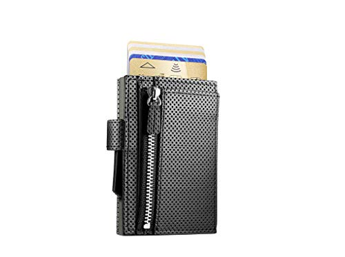 ÖGON Smart Wallets - Cascade Zipper Snap Wallet - Pop-Up RFID Blocking Bifold Card Wallet - Leder & eloxiertes Aluminium, veganes Leder Traforato schwarz Aluminium Titan (Schwarz) - CZS