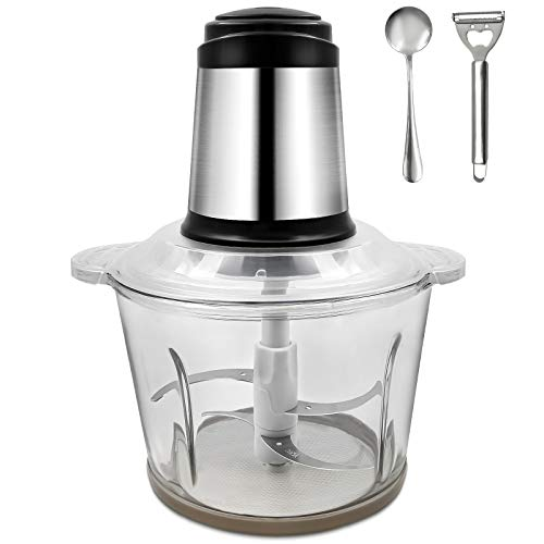 Tritatutto Elettrico,3L Frullatore Multifunzionale con Contenitore in vetro 300W Mini Robot da Cucina,4 Coltelli in Acciaio Inossidabile per Frutta Verdura Carne Spezie ecc