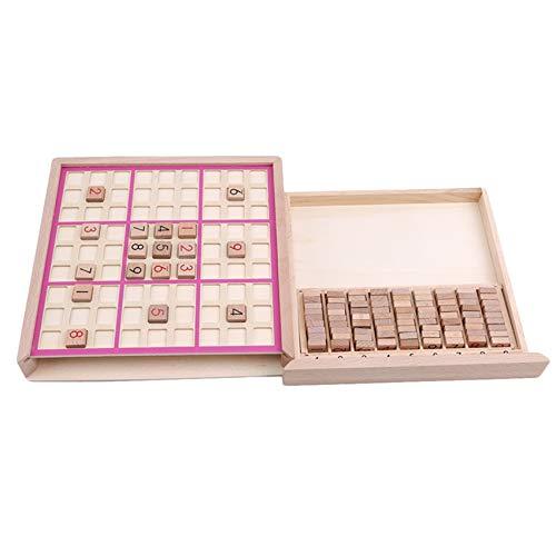 Generic LinLimaoyi Holz Sudoku Brettspiel mit Schublade für Kinder Erwachsene Sudoku Rätsel Math Brain Teaser Desktop Toys,Rosa