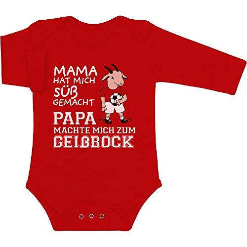 Shirtgeil Mama machte Mich süß Papa machte Mich zum Geißbock Baby Langarm Body 0-3 Monate Rot