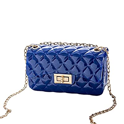 Candy Color Quilted Jelly Purse Crossbody Bag or Shoulder Bag for Women or Teens (Royal Blue)