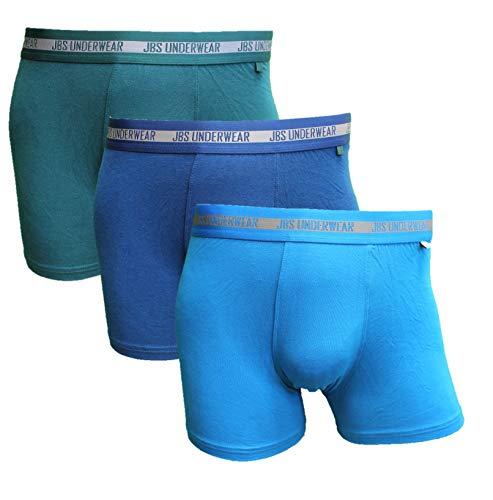 JBS 3er Pack Herren Unterhosen Extra Soft Bambus Boxer Blau Navy Grün, Größe:S