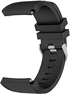 ACUTAS 22mm Classic Silicone Strap Band for Fossil Q Explorist Gen 3 / Fossil Q Wander, Marshal, Founder Gen 2 Smart Watch Strap (Black)