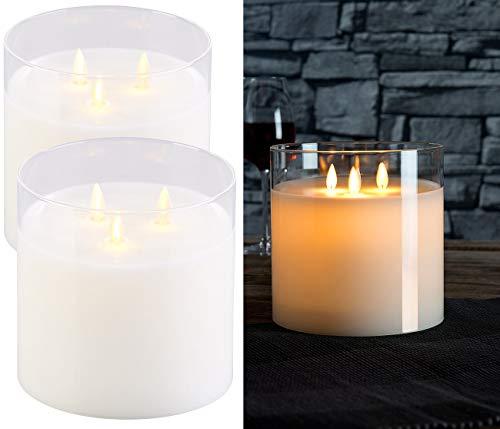 Britesta LED 3 Docht Kerze: 2er-Set LED-Echtwachs-Kerzen im Windglas mit 3 beweglichen Flammen (LED Kerze im Glas)
