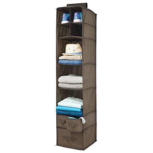 mDesign Organizador de ropa de fibra sintética – 7 compartimentos y 3 cajones – Estantería colgante para el dormitorio – Colgador de armario perfecto para ropa, cinturones o bolsos – marrón oscuro