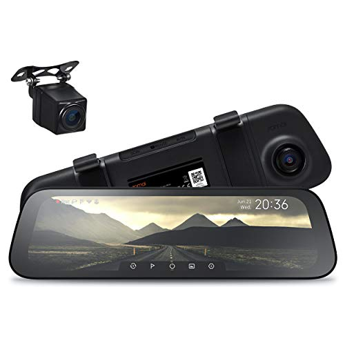 """70mai Rearview Dash Cam Wide, Sony IMX307 Night Vision Backup Camera IP67 Waterproof, Mirror Dash Cam 1080p, 10"""" IPS Screen Smart Dash Camera for Cars, Front and Rear Dual Lens 265°, App WiFi (2021)"""