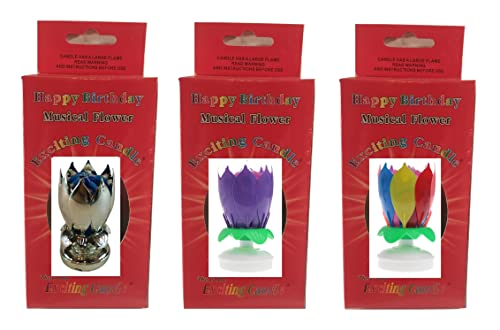 3 Pack - Silver, Purple, Rainbow Trademarked Exciting Candle Flower Birthday Candles
