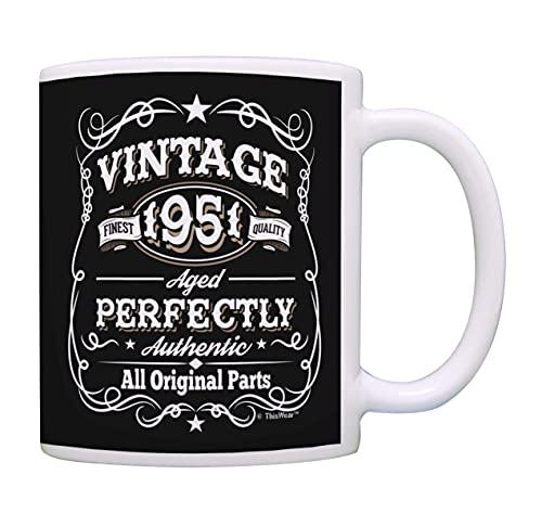Taza de café con diseño de 70 cumpleaños vintage 1951 todas las piezas originales de cumpleaños taza de café regalo taza de té