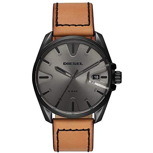 Diesel Herren Analog Quarz Uhr mit Leder Armband DZ1863