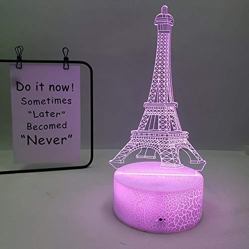 Lámpara de ilusión 3D Luz de noche LED Torre Eiffel Carga de acrílico transparente visual en 7 colores Lámpara de mesa de regalo para niños, regalo de Navidad para cumpleaños de niña niño