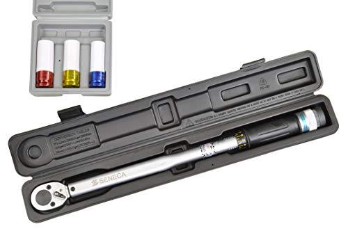 Pro-Lift-Tools momentsleutel 1/2 inch incl. 17-19-21 doppen automatische ratel 40 Nm - 210 Nm draaimoment wielmoersleutel 1 2/3 inch wiel verwisselen bandenwisselsleutel