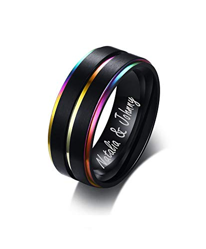 Mealguet Jewelry Personalized Stainless Steel Rainbow Lesbian Gay Pride Ring Center Groove Black Step Edge Brushed Wedding Band,Size 7