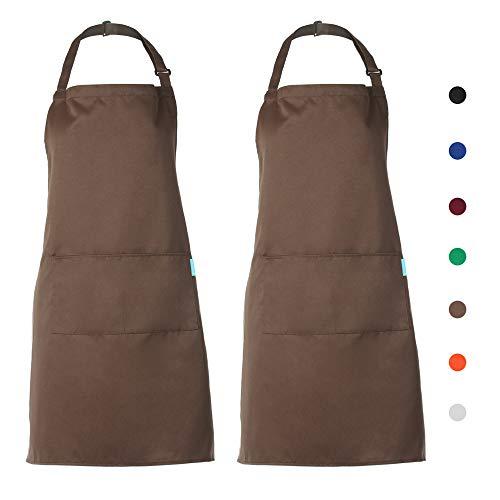 esonmus 2PCS/Set Adulti Poliestere Cucina Grembiule Ristorante Barbecue con Cintura Regolabile Collo 2 Tasche per Cucinare Cottura Giardinaggio per Uo
