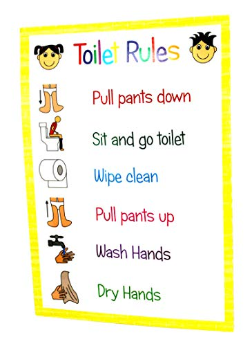 kids2learn TOILET RULES ROUTINE A4 Poster Sign Classroom Nursery Daycare...