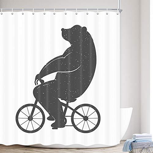 MERCHR Adventure Fun Duschvorhang aus Stoff, ein wilder Bär, Zoo, Tier, Wald, schwarze Silhouette, lustiger Polyester-Stoff, wasserdicht, Badezimmer-Duschvorhänge mit Haken, 174 x 178 cm