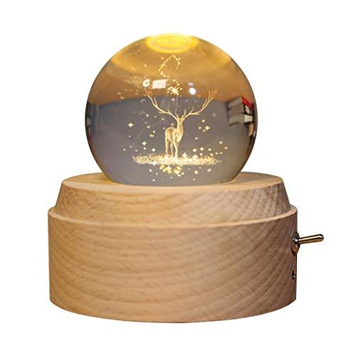 SunniMix Bola de Cristal láser 3D con Soporte de Madera, Adornos de Ciervo Bola de Cristal Decorativa de Bola de Nieve, Fiesta de cumpleaños para Padres,