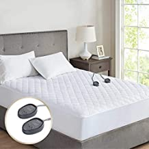 Beautyrest 100% Cotton Heated Mattress Pad, Dual Temperature Control Electric Bed Warmer with 18