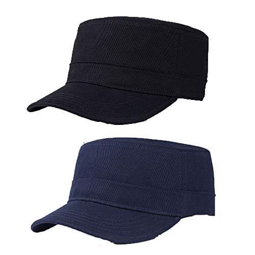 2 Piezas Gorra Militar de Algodón, Militar de Cadetes Sombrero, Gorra Cadete, Gorra Plana de Algodón Ajustable para Hombres y Mujeres (Negro, Azul Marino)
