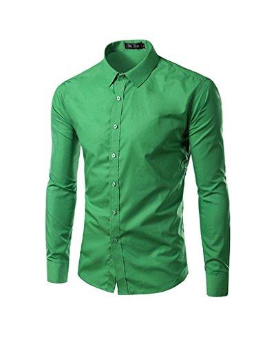 Legou Chemise pour Homme 5 Taille 17 Couleurs Plus de Couleurs Chemise Slim Fit Shirt Fashion Casual Shirt - Vert - XL