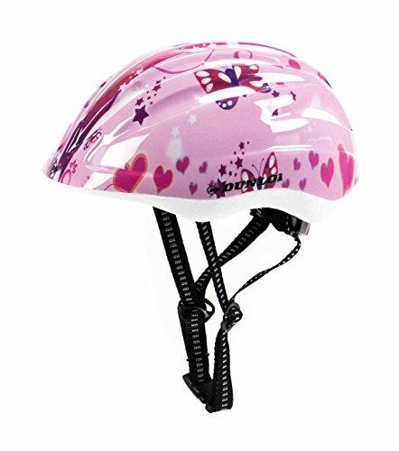 Kinder Fahrradhelm Dunlop für Radfahrer, Skater, Eisläufer und Skateboarder, entspricht DIN EN 1078, lieferbar in verschiedenen Designs, Biene / Flammen / Herz-Schmetterling / Blume / Skull / Stars & Stripes (Herz-Schmetterling)
