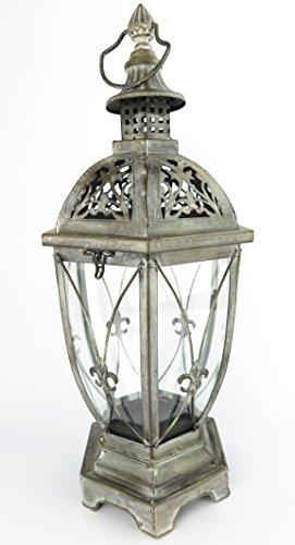 exklusive Laterne Windlicht XXL schwarz Innen / Außen Windschutz Kerze Gartenlaterne aus Metall RETRO Lampe antik rustikal