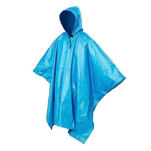 YH-NING 3 en 1 impermeable multifuncional al aire libre viaje lluvia poncho mochila calidad senderismo lluvia cubierta toldo camping impermeable tienda azul