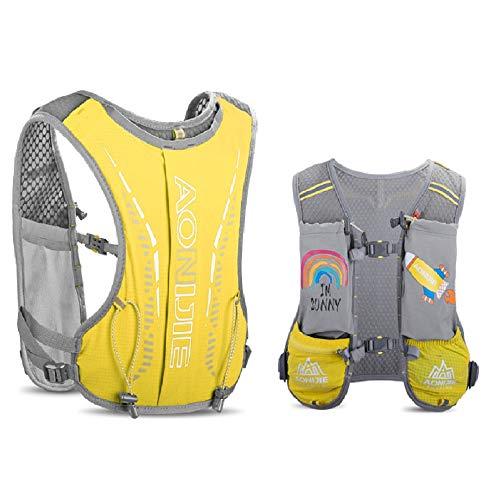 AONIJIE Mochila de hidratación para niños, 2,5 l, con bolsa de agua de 750 ml, para senderismo, bicicleta, escalada, color amarillo