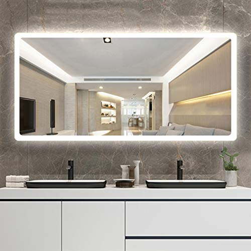 ADASP HORV Wall Mounted Lighted Makeup Mirror, LED Bathroom Slivered Mirror Horizontal, IP 44 Waterproof, Polished Edge & Defogger,Explosion-Proof Mirror