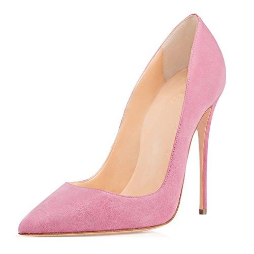 Soireelady Donna Sexy Stiletto Tacco Scarpe Pompa High Heels Pink EU39