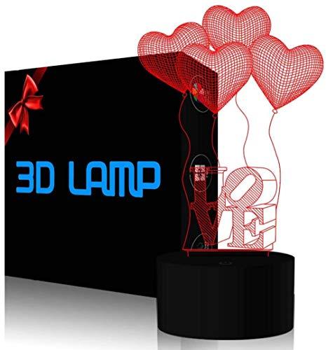 Lámpara 3D 3D IllusionI Love You Ilusion Lámpara 3D LED noche luz 16 cambio de color decoración lámpara con control remoto y toque inteligente, Navidad y cumpleaños