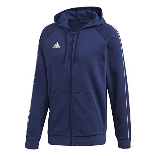 Adidas Core 18 Fullzip Hoody, Felpa con Cappuccio Uomo, Blu (Dark Blue/White), L