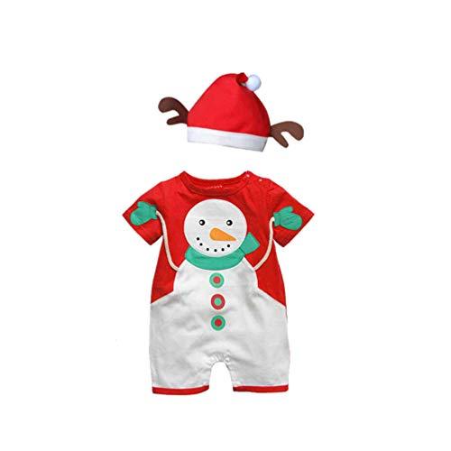TENDYCOCO Weihnachten Baby Overall Kurzarm Baby Outfit Niedlichen Schneemann Design Strampler Kostüm Kleinkind Kleidung mit Hut Geeignet für Innerhalb 79 cm Hoch