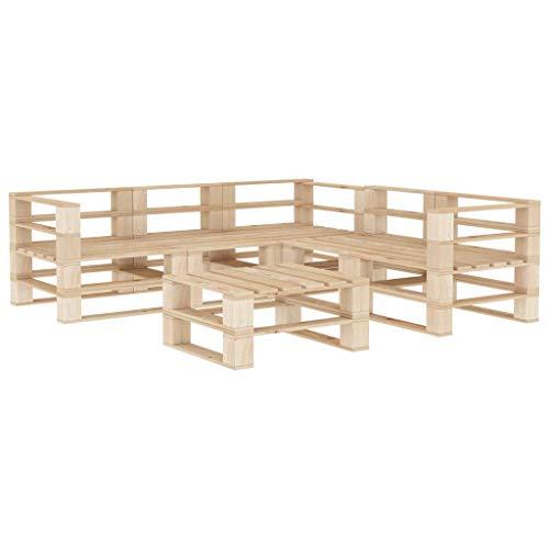 Goliraya Juego de Muebles de palés para jardín 6 Piezas de Madera
