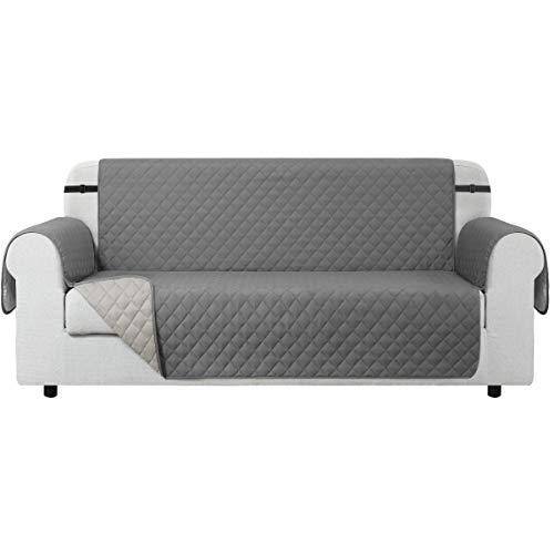 CHUN YI Sofabezüge Gesteppte Reversible Sofa Schutz Abdeckung, Sofaüberwurf mit Gummiband, Anti-Rutsch Sofaschoner Micro-Stoff-Pet-Sofa-Cover (3-sitzer, Hellgrau)
