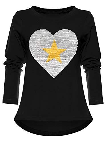 BEZLIT Mädchen Pullover Sweat-Shirt Wende-Pailletten Langarm Pulli Herz 22862 Schwarz 116