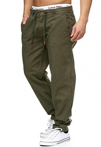 Indicode Herren Veneto Stoffhose aus 55% Leinen & 45% Baumwolle m. 4 Taschen | Lange sportliche Regular Fit Hose Moderne Baumwollhose Leinenhose Bequeme Freizeithose f. Männer Army L