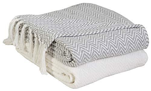 EHC - Juego de 2 mantas de algodón para sofá o silla, tejido de espiguilla, 125 x 150 cm (2unidades), color marfil/negro