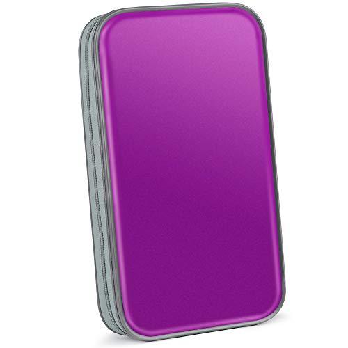 Bageek CD Tasche 80 CD Hüllen DVD Hüllen CD Aufbewahrung DVD Tasche (Mappe zur Aufbewahrung, platzsparend für Auto und Zuhause, Transport-Hüllen) (lila)