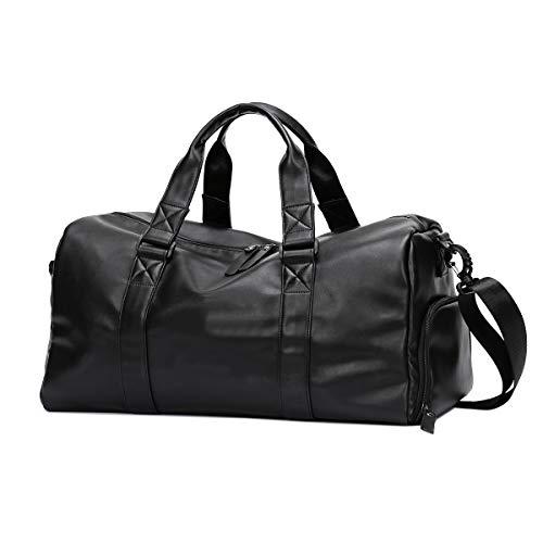 Neuleben PU Leder Sporttasche Reisetasche mit Schuhfach Nassfach Wasserabweisend Fitnesstasche Damen Herren Groß 30L (Schwarz)