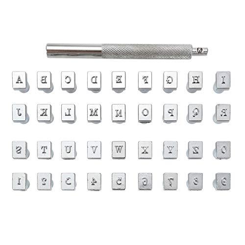 Mogokoyo 36 PCS Buchstaben und Zahlen Metall Stempel-Set Stamping Punch Leder Werkzeuge für DIY handgemacht Leder, A-Z Alphabet Buchstaben + 0-9 Zahlen (3mm)