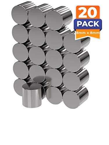 20 x Neodym-Magnete rund als Magnet-Scheibe in Ø 8 x 8 mm hoch, vernickelt (NiCuNi) | Haftkraft ca. ~2,5 kg| 20 Scheibenmagnete
