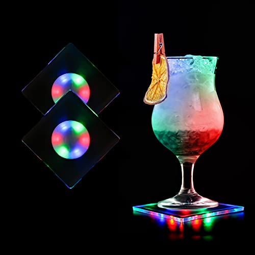 MEDOYOH 2 posavasos de acrílico multicolor para vasos, con luces LED de encendido/apagado, impermeables, para fiestas, bodas, compromisos, bares, Navidad